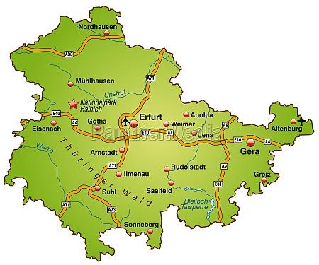 karte von thueringen mit verkehrsnetz