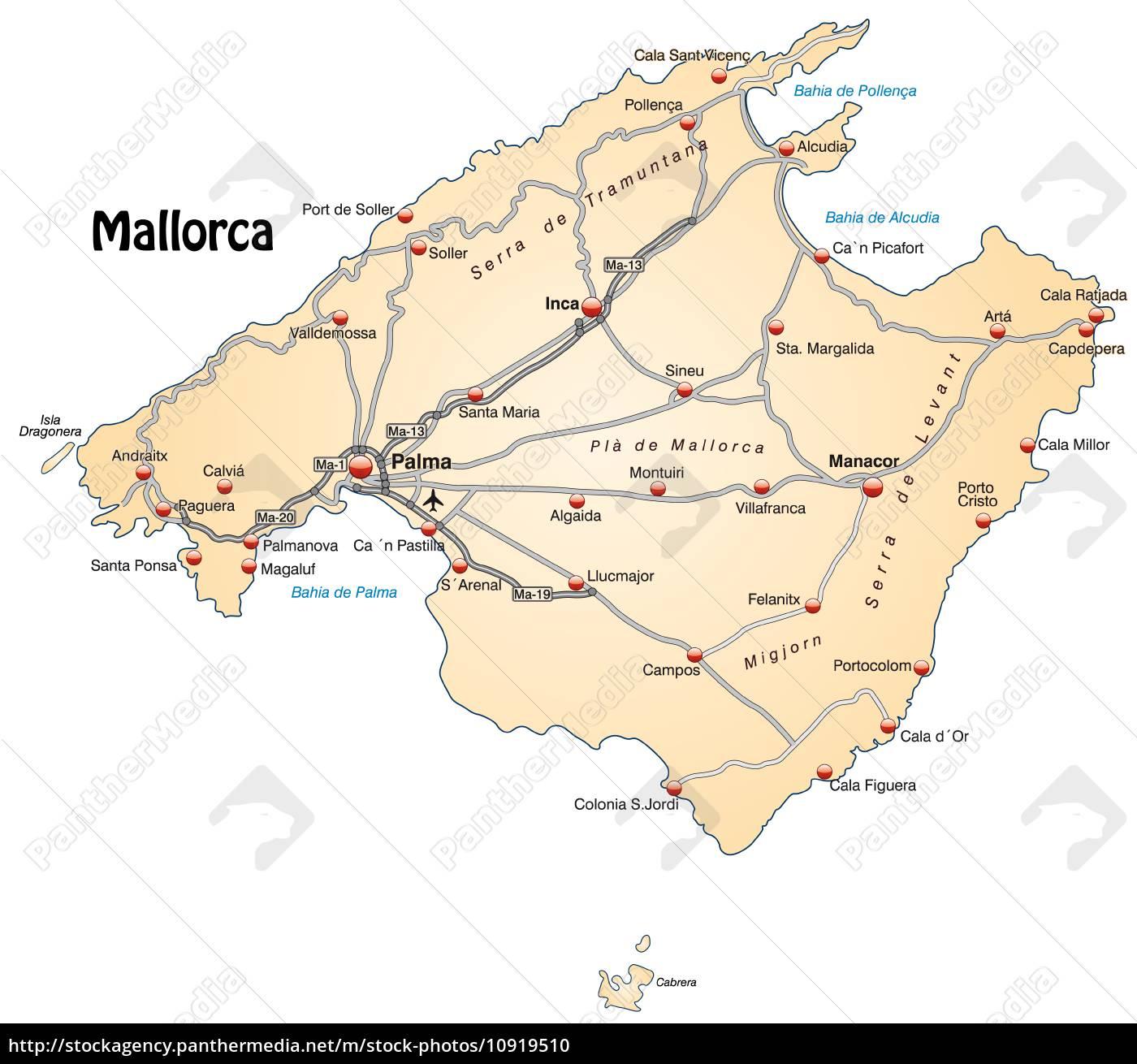 Karte von Mallorca mit Verkehrsnetz in Pastellorange - Stock Photo ...