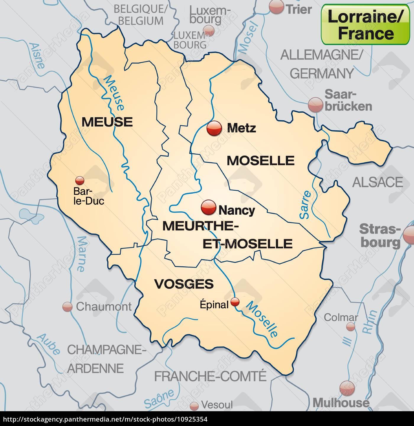 Lothringen Karte.Stock Bild 10925354 Karte Von Lothringen Mit Grenzen In Pastellorange
