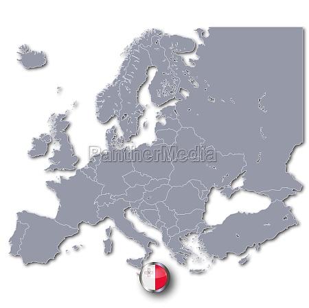 europakarte mit malta