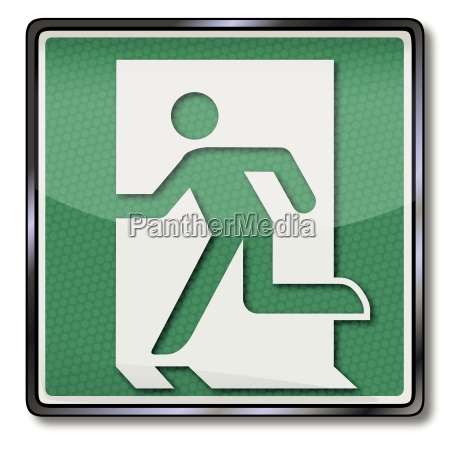 exit sign with rescue and emergency