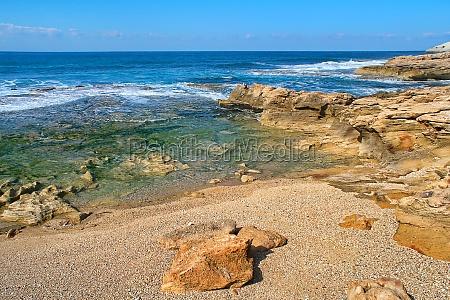 waves and rocks at rosh hanikra