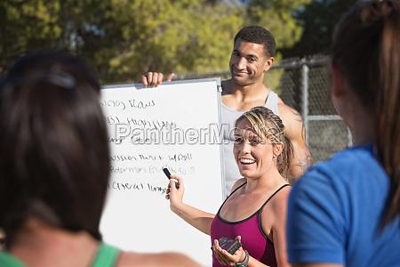 exercise teachers talking to group