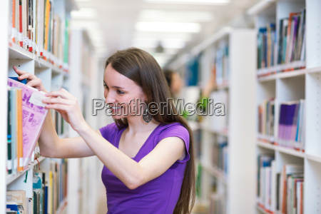 in the library pretty female