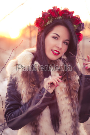 winter girl with flowers
