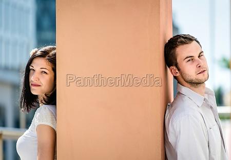 divided couple outdoor portrait
