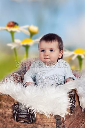 kleines kind in holztruhe auf fruehlingswiese