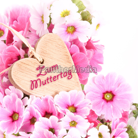 wooden heart with primroses mothers day