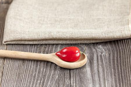 sharp habanero chili pepper on wooden