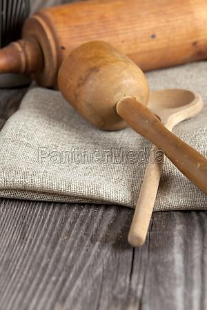 old baking utensils on rustic wooden