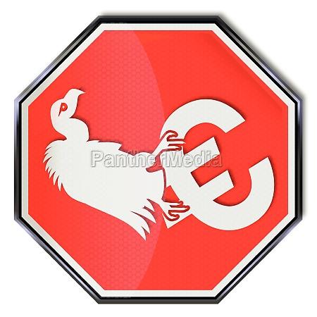 stop sign and euro pleitegeier