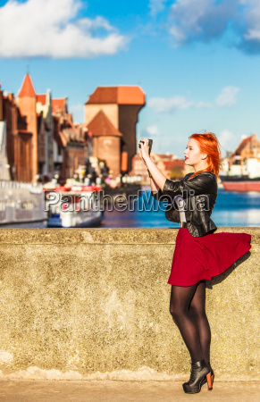 traveler woman red hair girl with