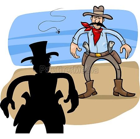 gunmen duel cartoon illustration