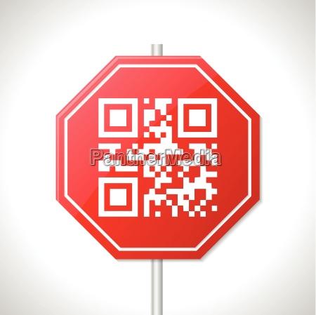 stoppzeichen design mit qr code