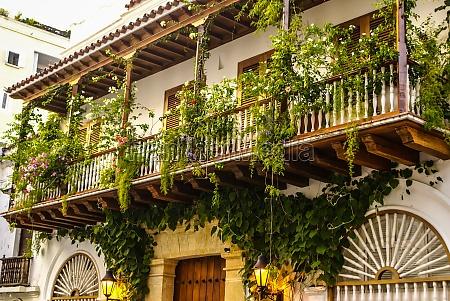 spanisches kolonialhaus cartagena de indias kolumbien