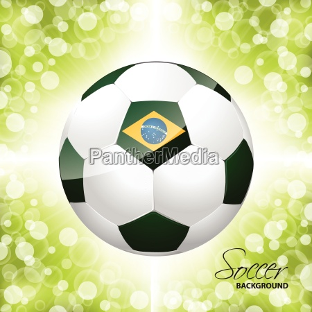 soccer ball poster with green background