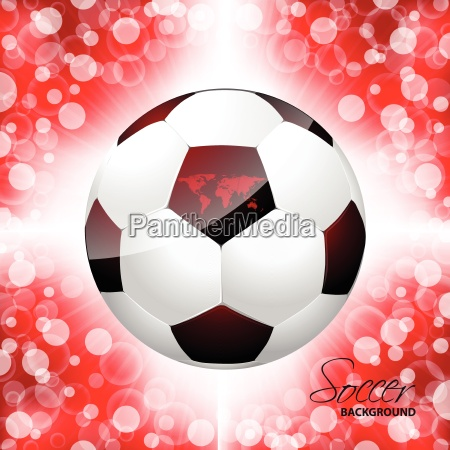 soccer ball poster with red background