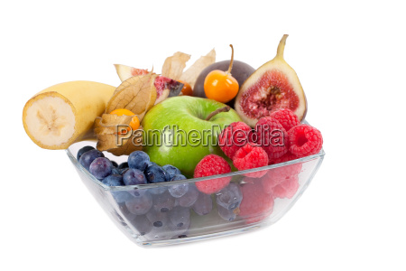 fresh fruit in a glass bowl
