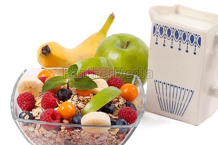 fruehstuecksmuesli mit milch