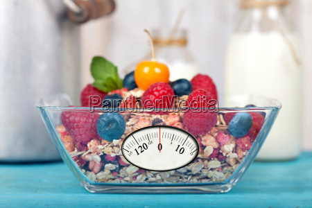 healthy muesli with scales