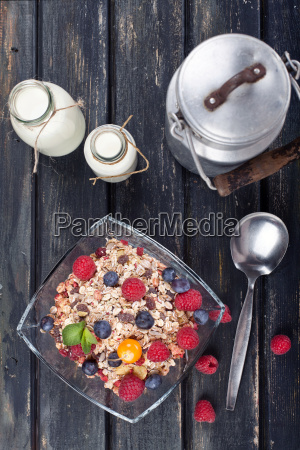 muesli rustic in country style