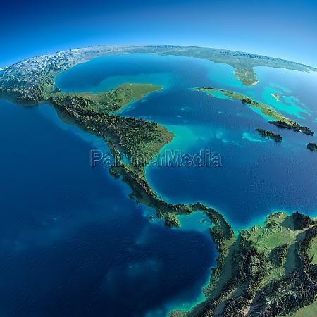detaillierte earththe laender in zentralamerika