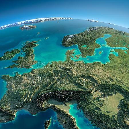 detaillierte erde zentraleuropa