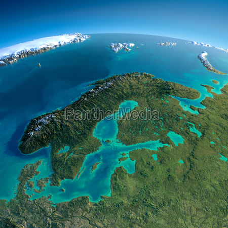 detaillierte erde europa skandinavien