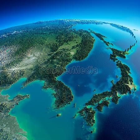 detaillierte erde korea und japan