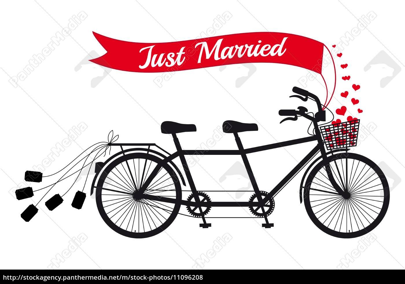gerade verheiratet hochzeit tandem fahrrad mit roten. Black Bedroom Furniture Sets. Home Design Ideas
