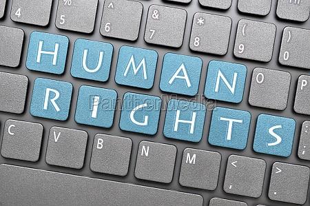 human rights on keyboard