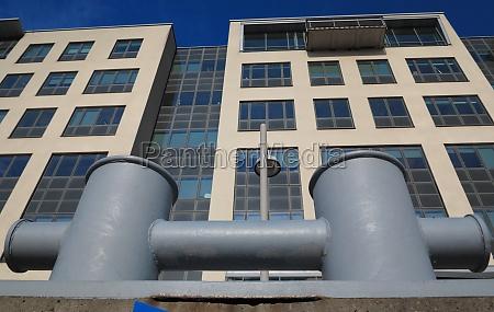 bollards in harbor city building in