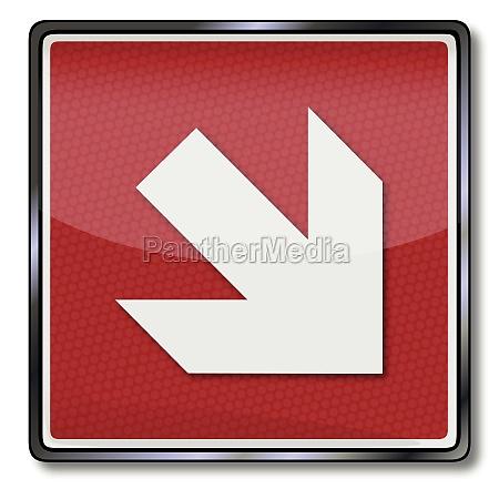 brandschutzzeichen pfeil nach rechts unten