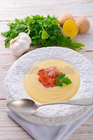 potato cream soup with chorizo and