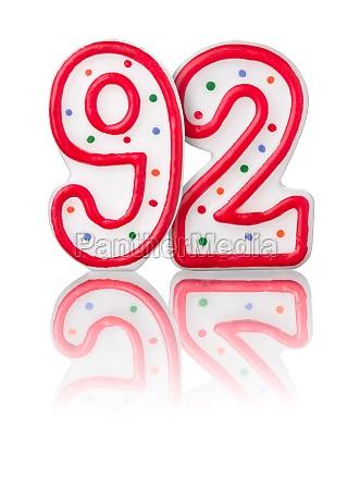 rote nummer 92 mit reflexion