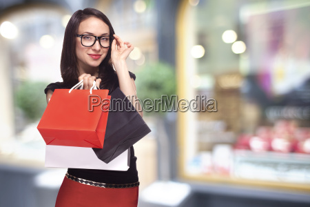 woman in glasses shopping