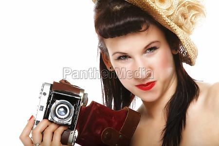 pretty retro girl in hat with