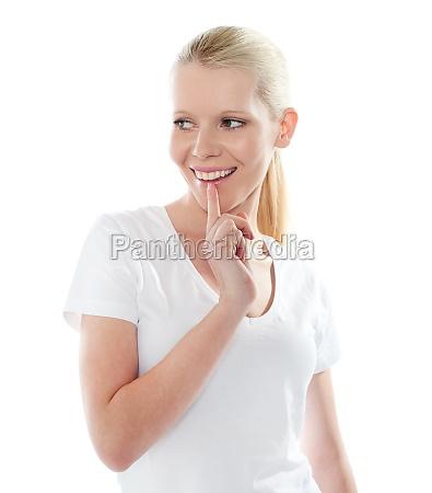 portrait of mischievious female smiling