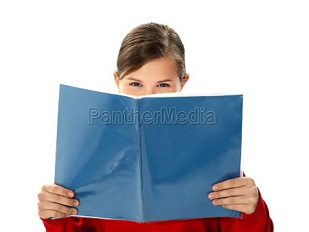 intelligent school girl reading study book