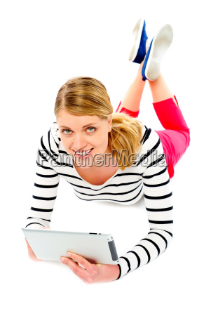 young woman holding her tablet computer