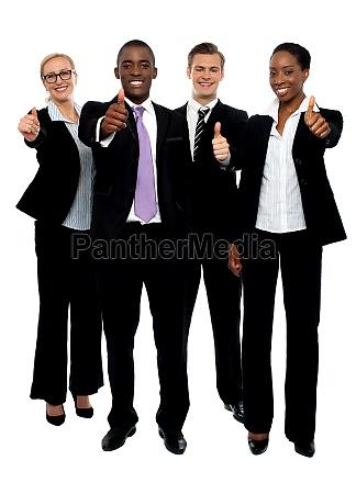 business team people group gesturing thumbs