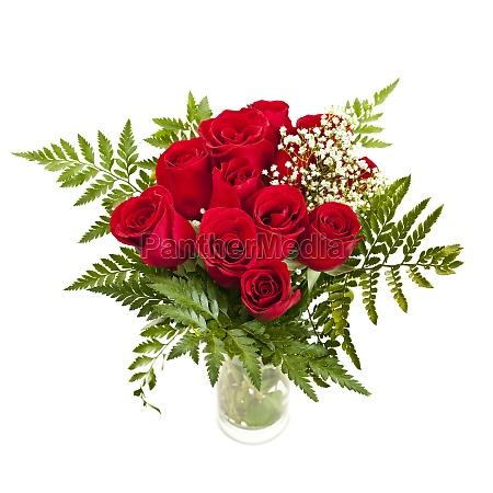 blumenstrauss aus frischen roten rosen