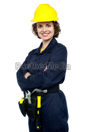 confident young woman in jumpsuit