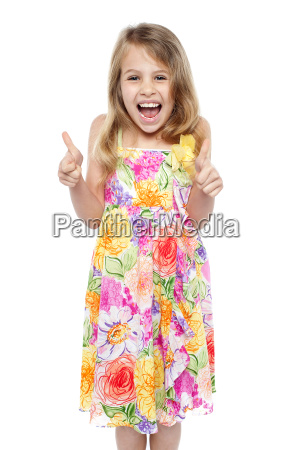 excited young girl showing double thumbs