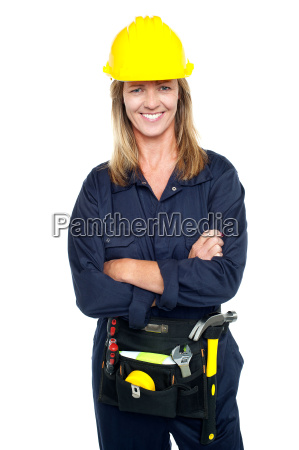 attractive architect woman with yellow hard
