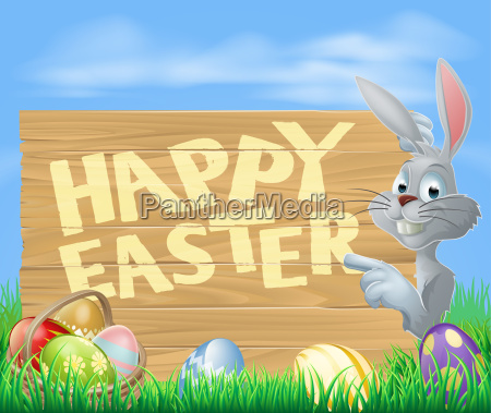 happy easter bunny pointing