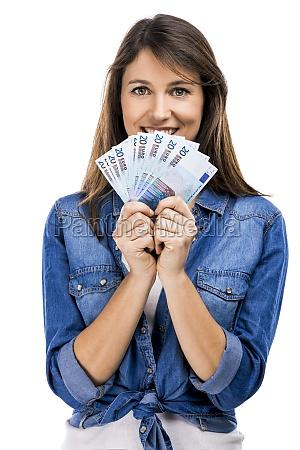 frau haelt etwa euro geldscheine