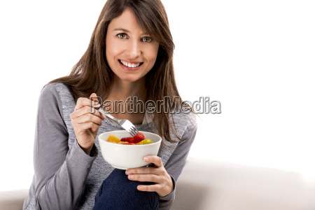 relaxing with a fruit salad