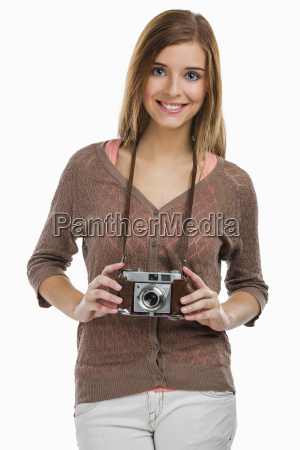 beautiful woman with a old photography