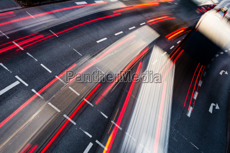 motion blurred city road traffic color